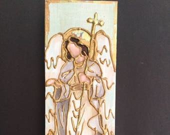 4 x 12 Mixed Media Painting of St. Raphael the Archangel