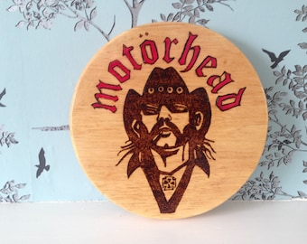 MOTORHEAD LEMMY (hawkwind) Unique Plaque/Rolling Board Etc.200mm Pyrography Burnt onto a natural Hardwood