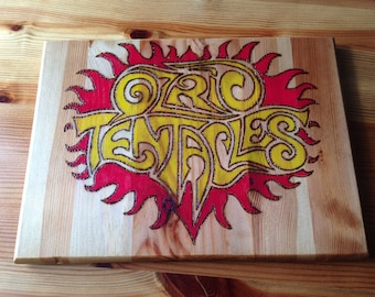 OZRIC TENTACLES Logo - Hand Made Unique Rolling Board/Plaque/Ornament Natural Wood Pyrography260X190X18mm