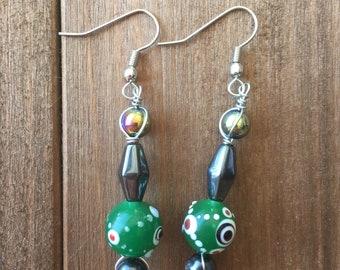 Green Rainbow Earrings