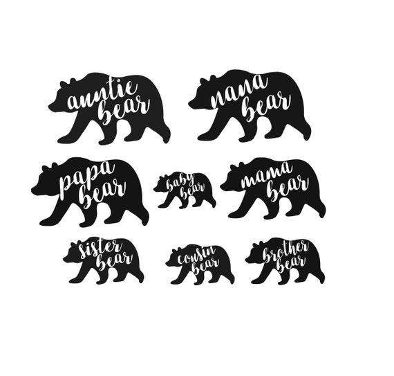 bear family svg 8 files in 5 formats bear family dxf etsy