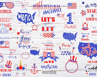 4th of july  svg -  30 files bundle  - USA svg - dxf - png - eps - jpg - Fourth of july cutting file - cricut - silhouette