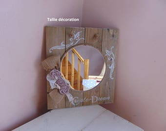 mirror made of recycled materials (wood)