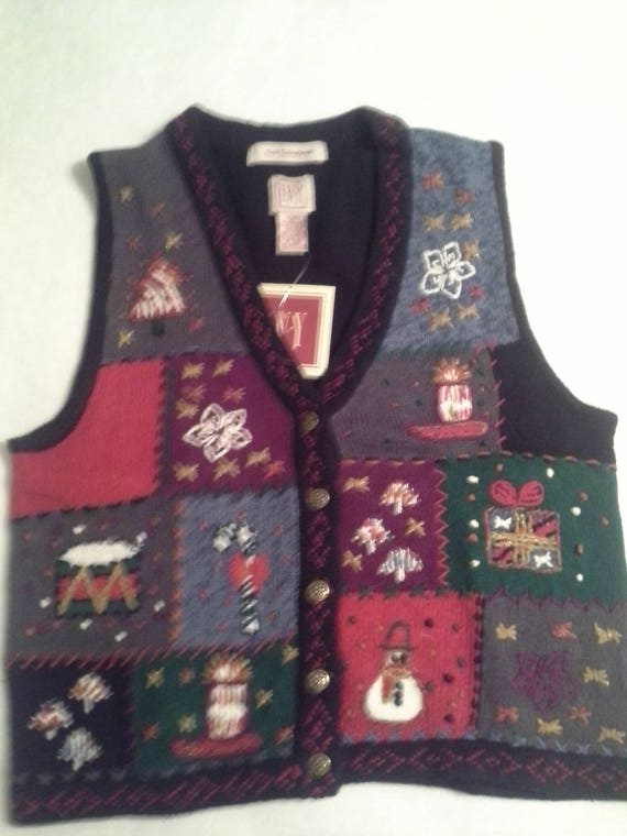 Christmas Vest.Ladies Patchwork Christmas Vest Free Shipping