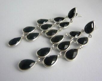 Amaya Earrings, Black Onyx Earrings, Onyx Earrings, Onyx Jewellery, Chandelier Earrings, Black Chandelier Earrings, Gift for Capricorns