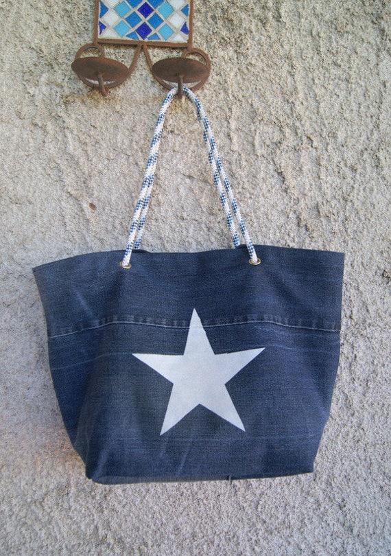 acheter populaire 59e85 b47da Sac cabas en jean recyclé et anses en corde