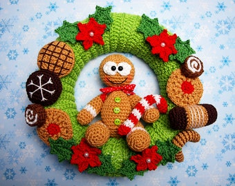 Crochet instructions door wreath gingerbread males-PDF file