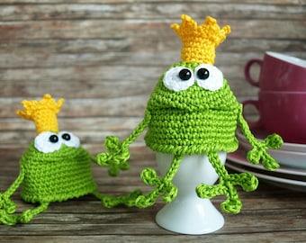 Egg warmer Frog King, crochet guide, PDF file