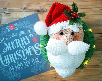 Crochet Instructions Door Wreath Santa Claus - PDF file