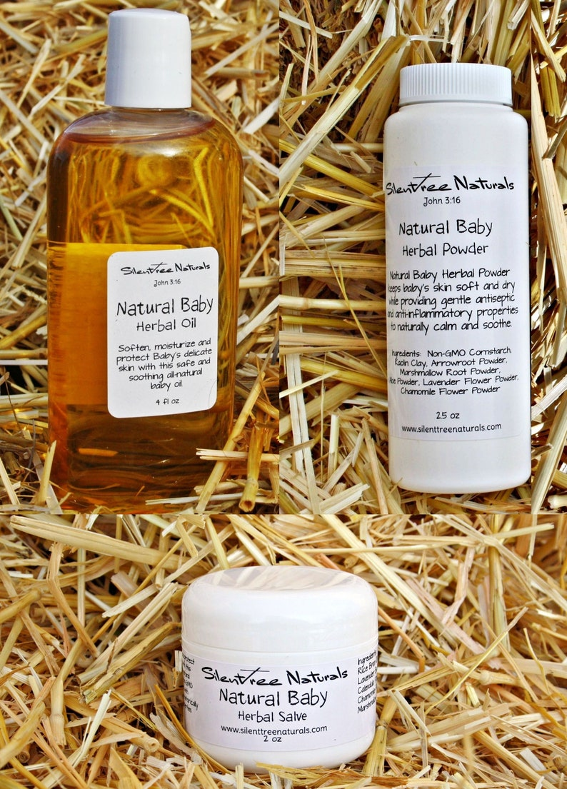 Natural Baby Herbal Oil-Salve-Powder Set-4 fl oz Baby Oil-2 oz image 0