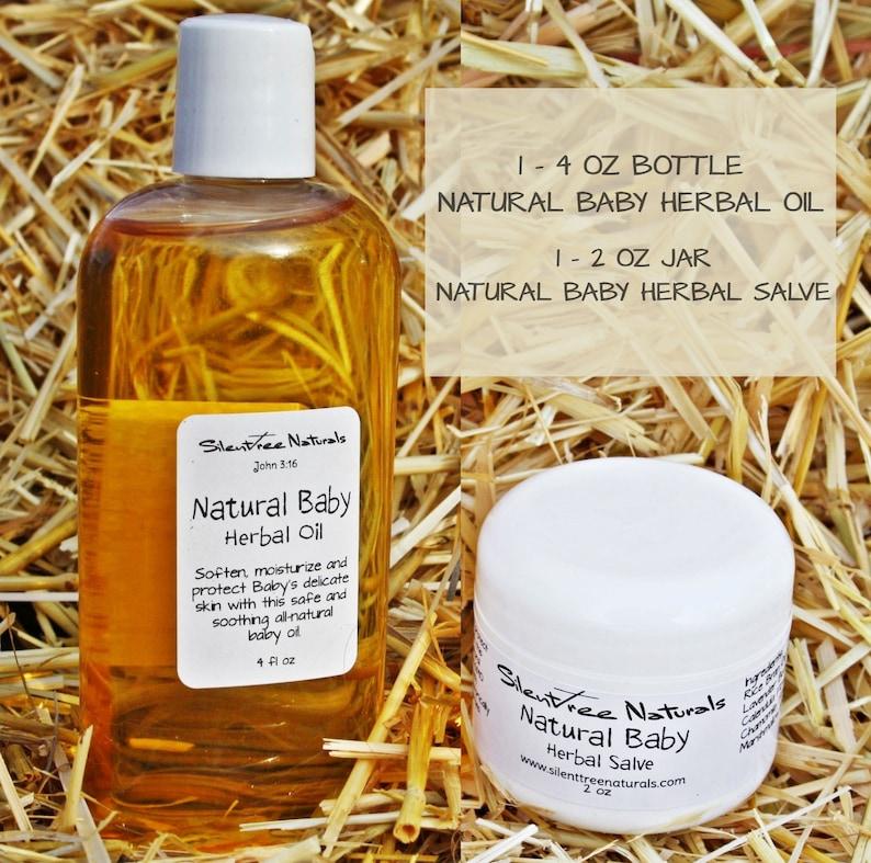 Natural Baby Herbal Oil and Salve Set  4 fl oz-Baby Oil 2 oz image 0