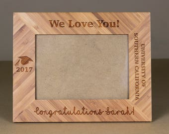 Custom Wood Picture Frames Throughout Custom Picture Frame Engraved Photo Graduation Wedding Christmas Gift Leather Frame Etsy