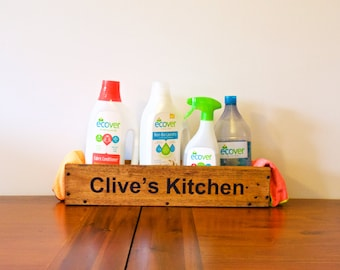 Personalised Kitchen Tidy - handmade from recycled wood