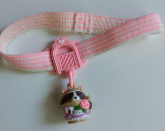 Vinatge Charmkin/Rosy Raccon with Choker/Miniature Figurine/Collectible Toy/Jewelry Charm