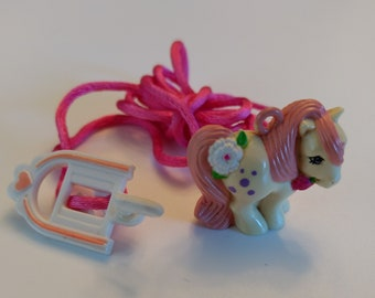 Vintage Charmkin/My Pixie Pony with Clip and Necklace/Miniature Figurine/Collectible Toy/Jewelry Charm