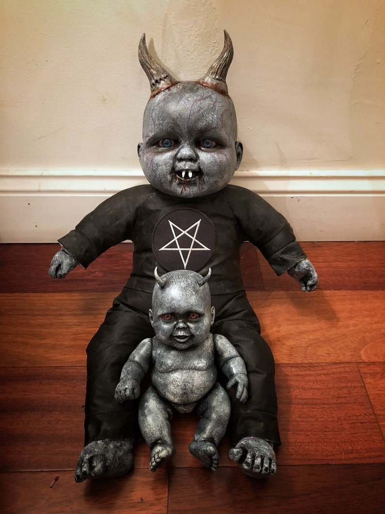Azazel and Dagon Creepy Scary Horror OOAK devil dolls Halloween