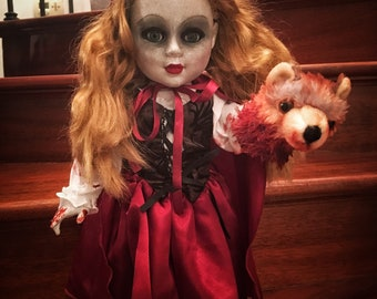 Red Creepy Scary Horror OOAK Little Red Riding Hood Doll