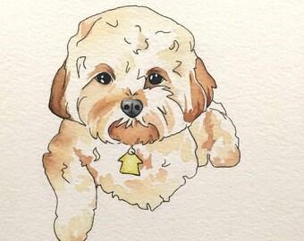 Custom Dog Watercolor Portrait