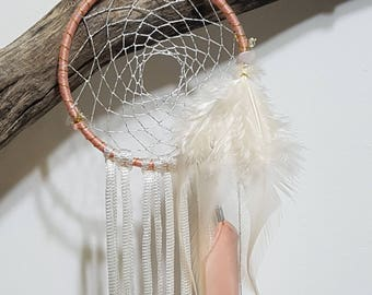 Unique Dream Catcher,  pink & gold Feathers, Wall Hanging, Home Design