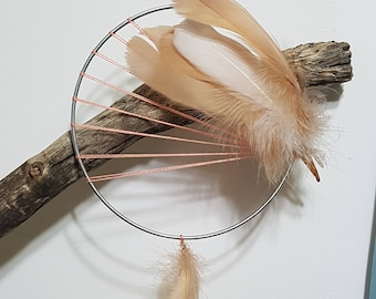 Unique Dream Catcher- BOHO Style, Brown Feathers, Wall Hanging, Home Design