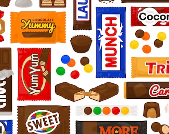 Chocolate Candy Clipart - Trick or Treat Halloween Reese's M&M Rolo Kit Kat Twix Butterfinger Snickers Clip Art, For Commercial Use