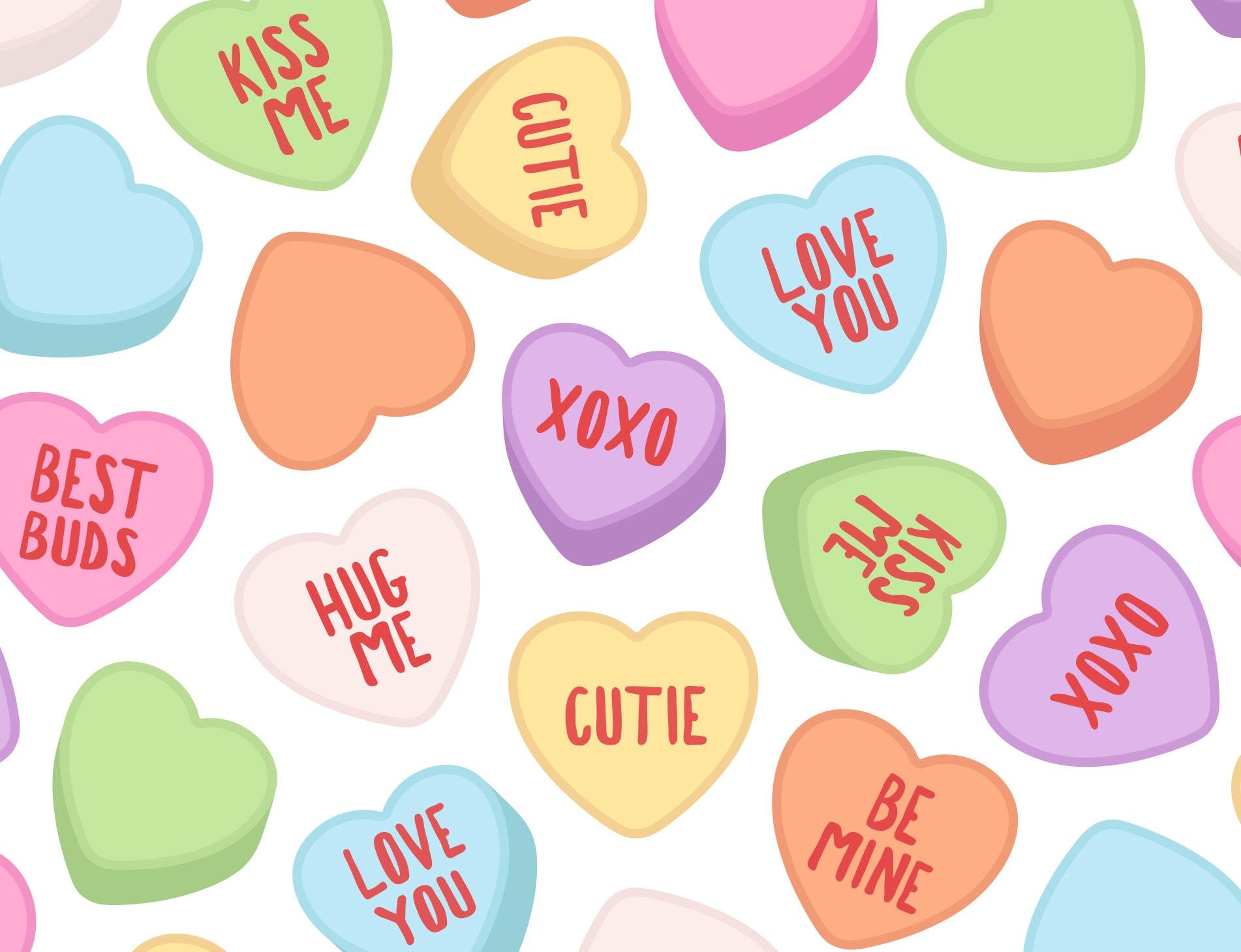 Conversation Heart Clipart Rainbow Valentine Candy Heart Etsy