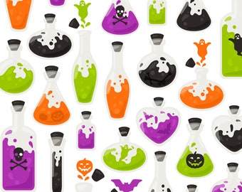 Halloween Potion Clipart - Pumpkin Ghost Skull Vial Fall Clip Art - For Commercial Use