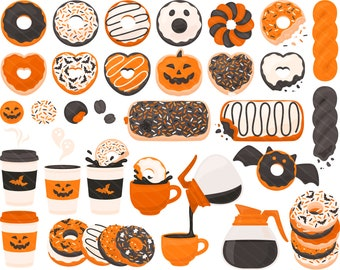 Spooky Halloween Coffee Donut PNG Clipart - Spooky Doughnut Ghost Bat Spider Coffee Cup Pumpkin Clip Art - For Personal & Commercial Use