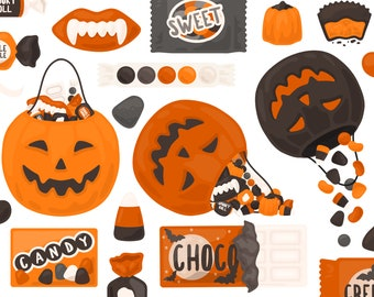 Spooky Halloween Candy Trick Or Treat Clipart - Candy Bar Chocolate Pumpkin Autumn Clip Art - For Commercial Use
