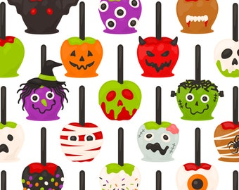 Halloween Caramel Apple PNG Clipart - Candy Apple Witch Frankenstein Skull Ghost Zombie Ghost Devil Monster Clip Art - For Commercial Use