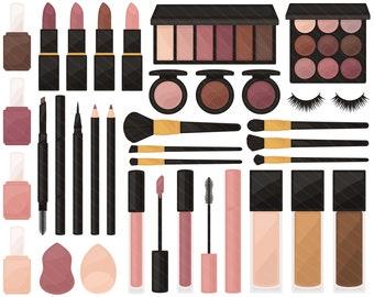 Neutral Makeup PNG Clipart - Eyeshadow Lip Gloss Lipstick Nail Polish Eyeliner Mascara Blush Clip Art - For Personal & Commercial Use