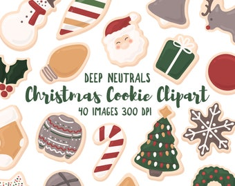 """Christmas Cookie Clipart - 40 Hi Res PNG Files - """"Deep Neutrals"""" Palette - Christmas Illustrations, Holiday Clipart, Cookie Clipart"""