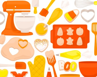 Candy Corn Cookie Baking Clipart - Mixer Frosting Icing Spatula Whisk Clip Art - For Commercial Use