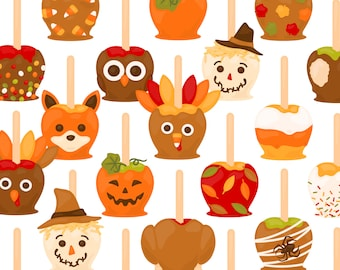 Autumn Caramel Apple PNG Clipart - Candy Apple Scarecrow Turkey Candy Corn Fox Owl Thanksgiving Halloween Clip Art - For Commercial Use