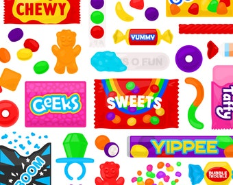 Sweet Candy Clipart - Trick or Treat Halloween Starburst Sour Patch Skittles Ring Pop Nerds Gummy Clip Art, For Commercial Use