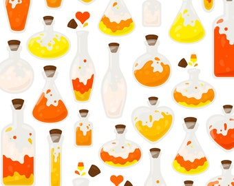 Candy Corn Potion Clipart - Pumpkin Ghost Skull Vial Fall Autumn Halloween Clip Art - For Commercial Use