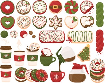 Neutral Christmas Coffee Donut PNG Clipart - Snowflake Doughnut Snowman Christmas Tree Reindeer Clip Art - For Personal & Commercial Use