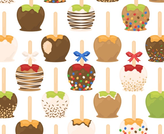 Autumn Caramel Apple Clipart Candy Apple Dessert Fruit Treat Etsy