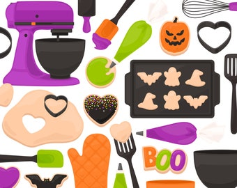 Halloween Cookie Baking Clipart - Mixer Frosting Icing Spatula Whisk Clip Art - For Commercial Use