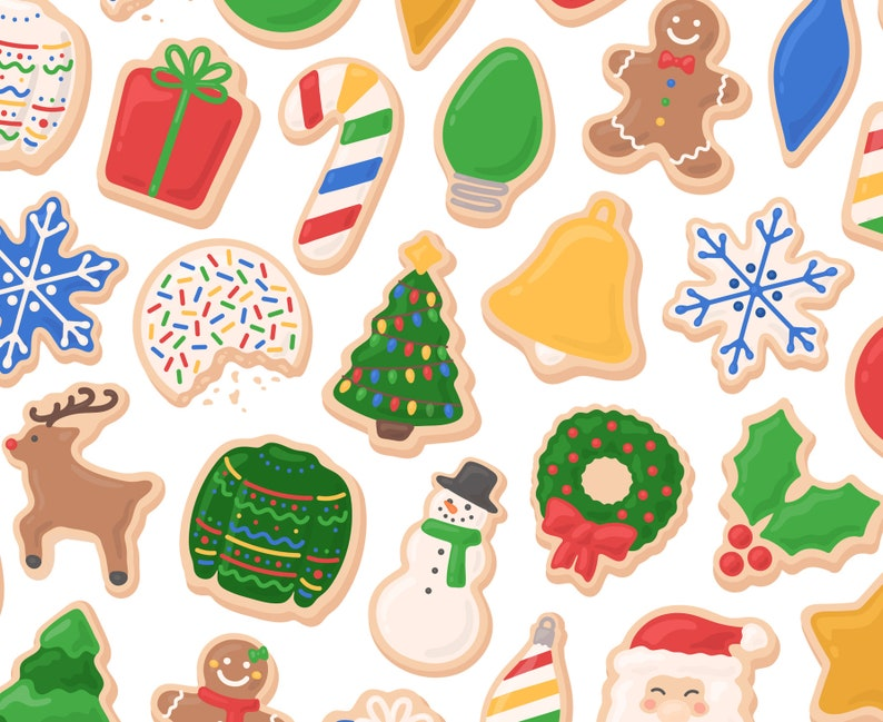 Christmas Cookie Clipart.Colorful Christmas Cookie Clipart Santa Clipart Snowman Clipart Ugly Sweater Clipart Gingerbread Clipart Cookie Clipart