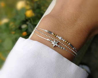 grey beaded bracelet - three rows - solid silver 925