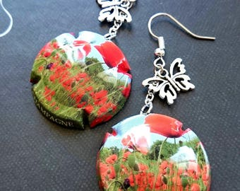 Poppy earrings capsule champagne poppy flower
