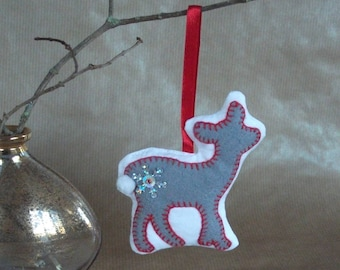 Grey felt reindeer