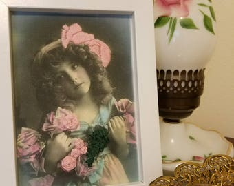 Victorian girl with Pink flowers