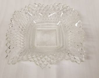 Diamond cut glass candy dish