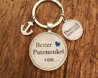 A lovingly designed  key fob   with the lettering /'Patenonkel/'