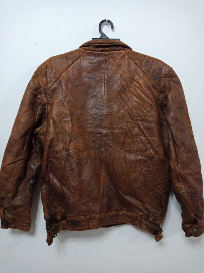 Vtg RaRE!!!80/'s WALTER WOLF fully LEATHER Zipper Jacket Super Rare Medium Size Original Made in Japan Very Hard To Find!