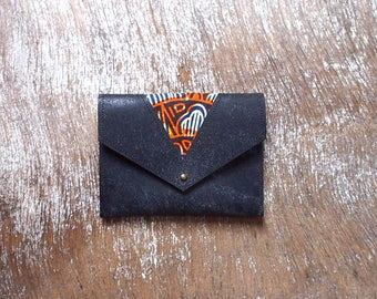 Ethnic coin purse with leather and wax (black, orange, Blue Navy and beige)
