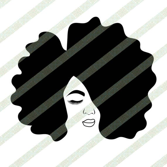 Afro Girl Svg Silhouette Drawing Of Afro Lady Natural Hair Etsy