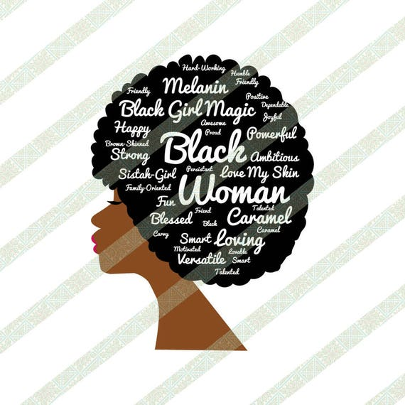 Words In Natural Hair Afro Svg Jpeg Brown Skinned Black -9748